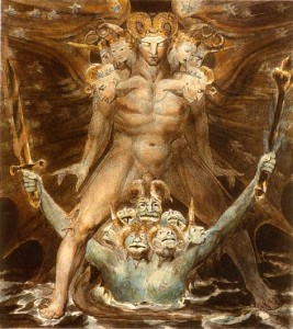 "William Blake, ""The Great Red Dragon and the Beast from the Sea,"" c. 1805"