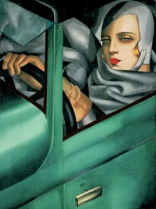 "Tamara de Lempicka, ""Auto Portrait in Green Bugatti,"""