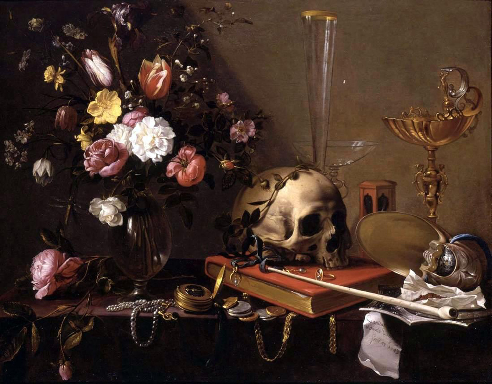 Vanitas-Adriaen_van_Utrecht-_Vanitas_-_Still_Life_with_Bouquet_and_Skull-LARGE