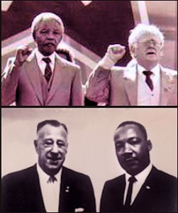 "En haut: Nelson Mandela et le dirigeant juif du Parti Communiste ""Joe"" Slovo. Au bas de la photo : le Président du NAACP Kivie Kaplan en train de poser avec Marthin Luther King Jr."