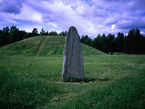 Viking rune stone and grave mounds at Anundshög