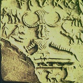 Horned God in lotus position with animals, Indus Valley Civilization, steatite seal, 2500-1500 B.C.E