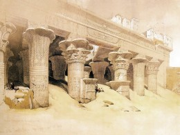"David Roberts, ""Portico of the Temple of Horus at Edfu"""