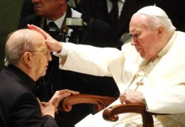 It was already quite clear when this picture was taken that Fr. Marcial Maciel, founder of Regnum Christi/Legion of Christ was a prolific sexual predator, but Pope John Paul II refused to act and endanger the movement. Only when his predecessor was incapacitated did Cardinal Ratzinger initiate the process that removed Fr. Maciel from active ministry and publicly condemned him. This was over the intense objections of senior members of his movement and supporters like Fr. Richard Neuhaus, editor of the Neo-Con journal First Things.