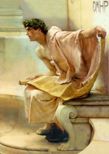 "Sir Lawrence Alma-Tadema, ""A Reading from Homer."" 1885, detail"