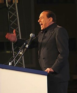Silvio Berlusconi addressing a People of Freedom rally in 2008