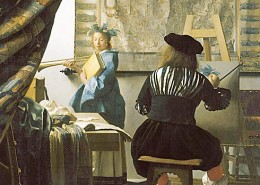 "Jan Vermeer, ""The Art of Painting,"" detail. The woman is dressed as Clio, muse of history."