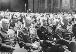 State funeral of General Hans-Valentin Hube, April 26, 1944. L. to R.: Günther von Kluge, Heinrich Himmler, Karl Dönitz, Wilhelm Keitel.  Note the three batons.