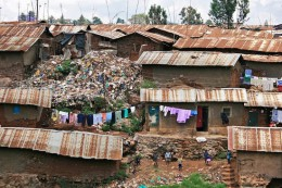 "A slum in Nairobi, Keyna–part of the ""developing world."""