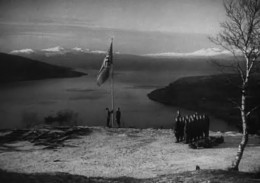 Closing scene: Raising the Reich war flag over the conquered nation