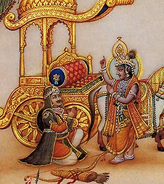 Krishna instructs Arjuna