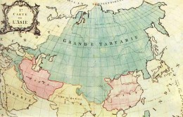 Map of Eurasia from 1771. Much of present-day Russia is called Grand Tartary.