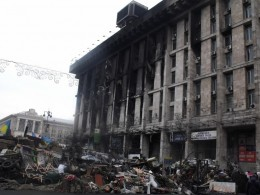 The Trade Unions Building in Kiev. Opposition snipers fired at the police from the third floor of the building, according to a Swedish volunteer in a Ukrainian paramilitary unit.