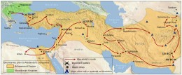 "Map of Alexander's route. Gordium, where he arrived in 333 BC at the outset of his campaign, is shown. The ""conquest of the known world"" consisted primarily of Alexander's spectacularly successful subjugation of the vast Persian Empire, the largest in the ancient world. The Empire was founded by the Aryan (hence ""Iran,"" which was the heart of the ancient state) Persians and Medes c. 550 BC, though they had first settled the Iranian plateau a thousand years earlier."
