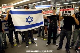 Jewish protesters trashed a national chain which sells tickets to Dieudonné's show.