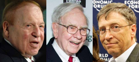 L. to R.: Old billionaires Sheldon Adelson, Warren Buffett, & Bill Gates