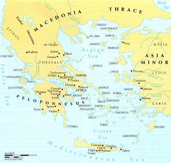 Ancient Greece & the Aegean Sea: Athens & Attica; islands of Samothrace & Lemnos in the northern Aegean just south of Thrace.