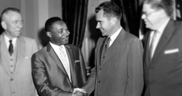 "Nixon with Martin Luther King, Jr. in 1957. The California Republican worked hard throughout his career to ""mix it up"" and, according to loyal aide Patrick Buchanan, succeeded admirably."