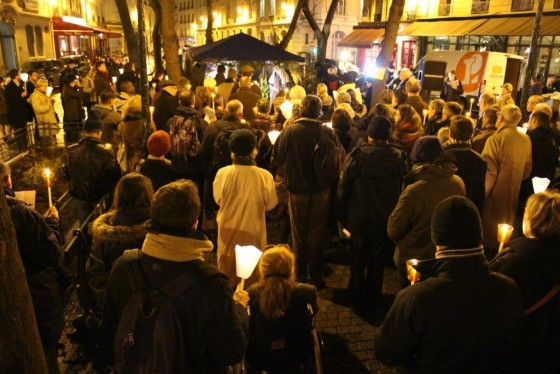A few of the 300 protesters present for the Living Nativity on December 17 in Paris