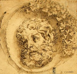 Agostino Carracci, Head of a Faun in a Concave,  1595