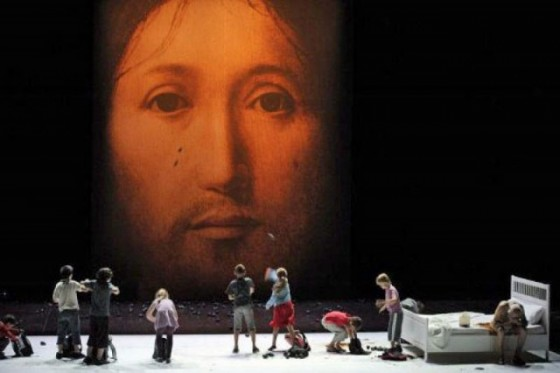The Face of Christ pelted with stones and feces during a play which toured France in 2011