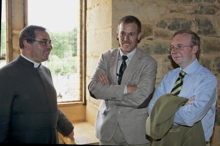 Xavier Beauvais, then Curé at St. Nicolas du Chardonnet (SSPX) Paris, shares a laugh with Alain Escada (right), President of Civitas at the Summer Session 2012
