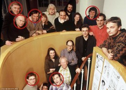 Charlie Hebdo staff picture. Victims of the massacre are circled in red.