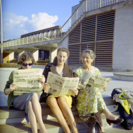 Beryl Cheetham (center) with Diana Hughes (left) and Savitri Devi, after the 1962 Cotswolds Camp