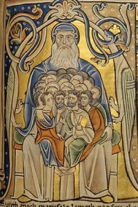 """In Abraham's bosom the nations gather,"" Bible of Souvigny, 12th century"