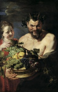 Peter Paul Rubens Satyr and Maid with Fruit Basket, 1615