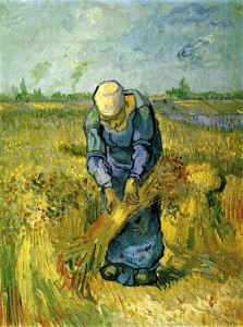 Vincent Van Gough, Peasant Woman Binding Sheaves after Millet, 1889