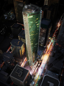 When completed in 2016, the twisting Trump tower in Vancouver will stand at 616 feet.