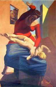 "Max Ernst, ""The Virgin Spanking the Christ Child before Three Witnesses: Andre Breton, Paul Eluard, and the Painter, 1926"