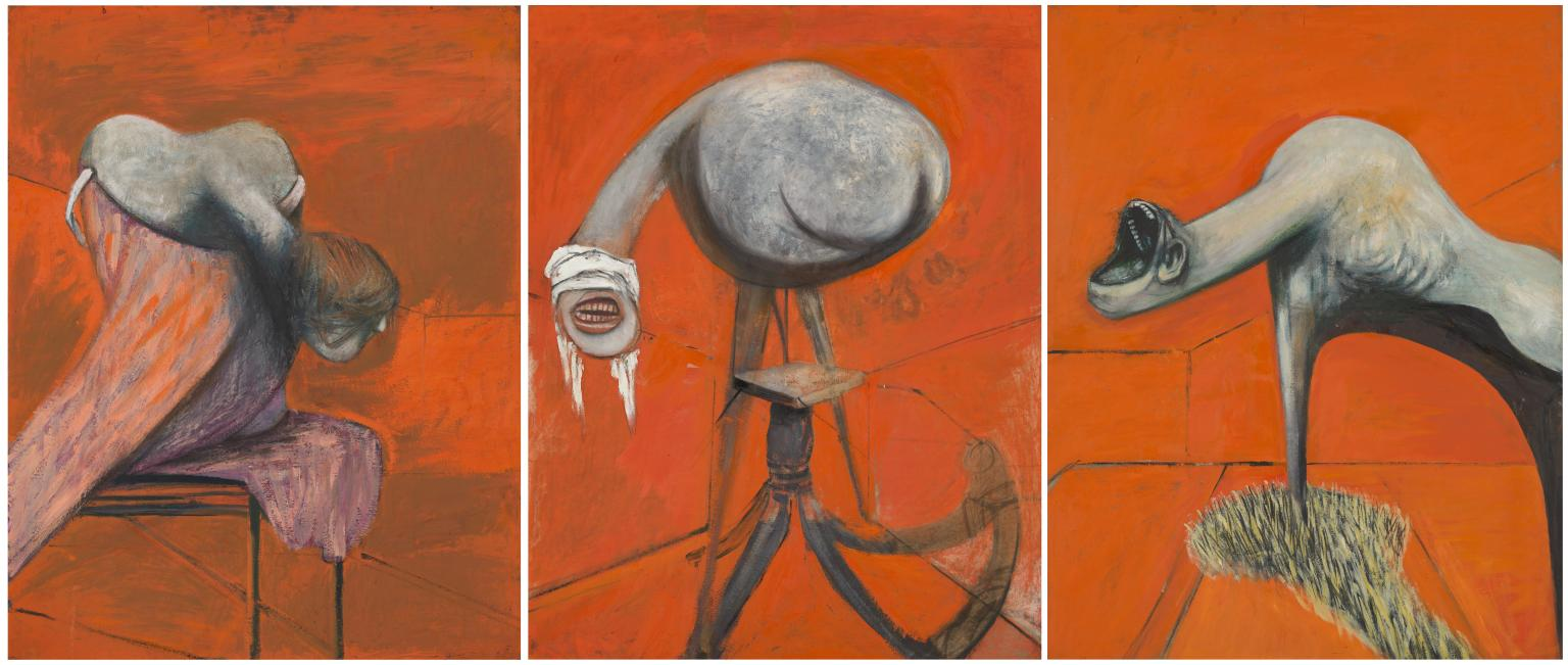 Three Studies for Figures at the Base of a Crucifixion c.1944 Francis Bacon 1909-1992 Presented by Eric Hall 1953 http://www.tate.org.uk/art/work/N06171