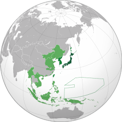 Dark Green represents the Japanese home islands and the early parts of the Japanese Empire. Korea effectively fell under the control of the Japanese in 1905. This picture also shows how Korea fits in as a buffer between the Middle Kingdom, Manchuria, Russia, and Japan.
