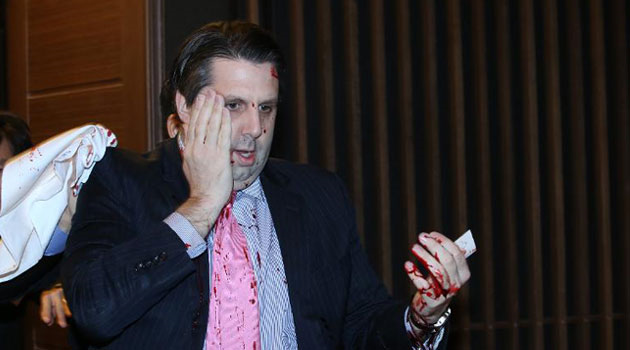 US Ambassador Mark Lippert after Kim's knife attack. Ambassador Lippert is an Iraq War Veteran.