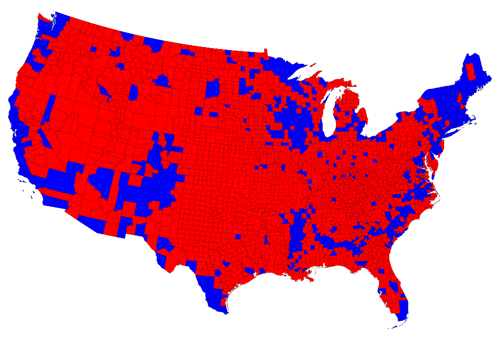 2012 US Presidential Election map by county